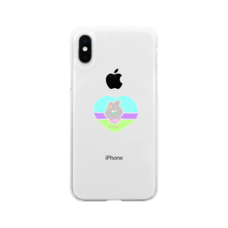 GREENHOUSEのもじもじうさぎ Soft clear smartphone cases