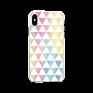 ぴーこっくのカラフルサンカク Soft clear smartphone cases