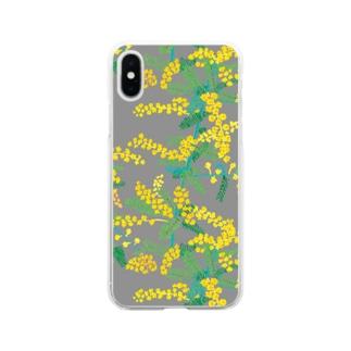 machinoniwaのミモザ グレー Soft clear smartphone cases