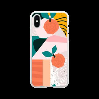 SANKAKU DESIGN STOREのフルーツモダンアートA。 Soft clear smartphone cases