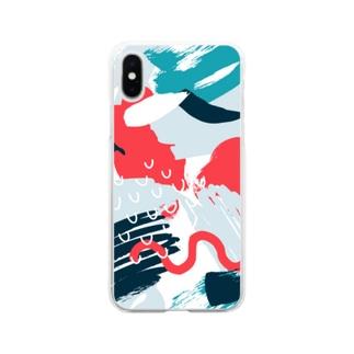ジャングルモダンアート。 Soft clear smartphone cases