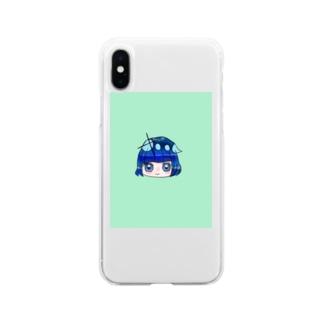 深海blueガール Soft clear smartphone cases