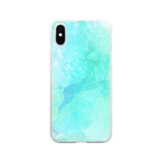 氷晶の鹿 Soft clear smartphone cases