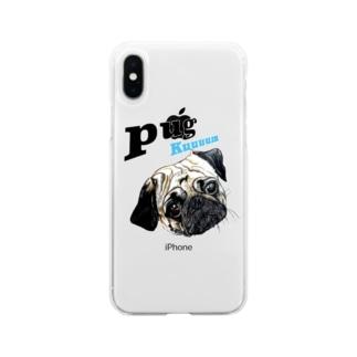 パグの泣き声 Soft clear smartphone cases