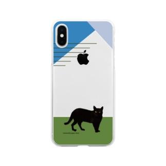 佇む黒猫 Soft clear smartphone cases