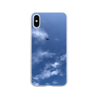 優雅に飛ぶトンビ Soft clear smartphone cases