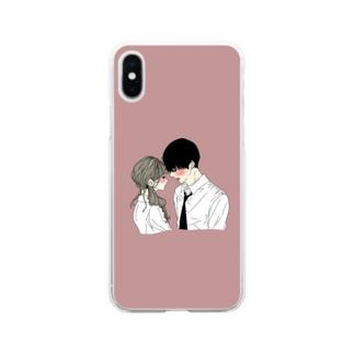 カップルスマホケース くすみレッド Soft clear smartphone cases