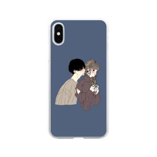 カップルスマホケース ネイビー Soft clear smartphone cases