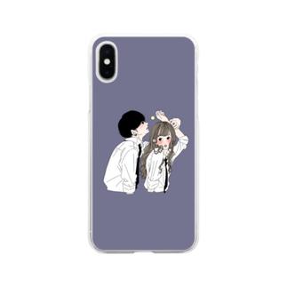 カップルスマホケース くすみネイビー Soft clear smartphone cases