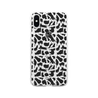 ホルスタイン柄…のような猫2 Soft clear smartphone cases
