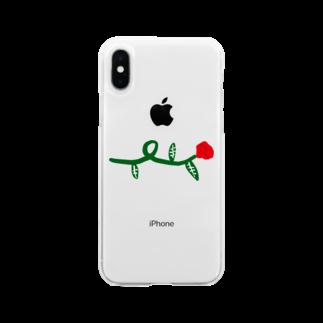 明季 aki_ishibashiの花を持つ人 Soft clear smartphone cases