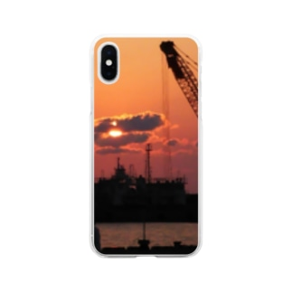 夕日と港 Soft clear smartphone cases