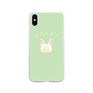 うさぎの女の子のスマホケース Soft clear smartphone cases