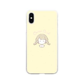 おさげの女の子のスマホケース Soft clear smartphone cases