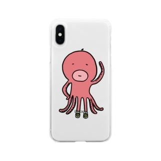 スニーカー好きのタコ Soft clear smartphone cases