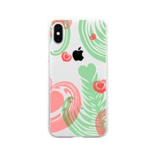 【ラテアート】レイヤーラテアート/レッドグリーン Soft clear smartphone cases