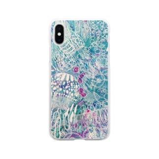 ブルーゼリーフィッシュ Soft clear smartphone cases