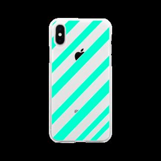 イエネコのミントボーダー Soft clear smartphone cases