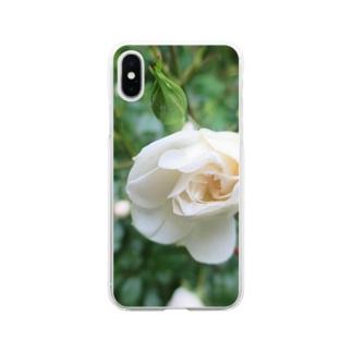 白いミニバラ Soft clear smartphone cases