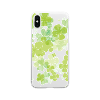 タバタ画房のクローバーでまいにち春気分 Soft clear smartphone cases