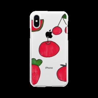 ももたくんのまっかな果物 Soft clear smartphone cases