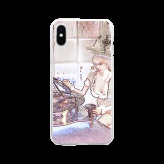 FUCHSGOLDのCG絵画:時間を操るメイド服の魔女 CG art: Witch with sundial Soft clear smartphone cases