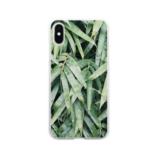 イエネコの植物 笹 Soft clear smartphone cases