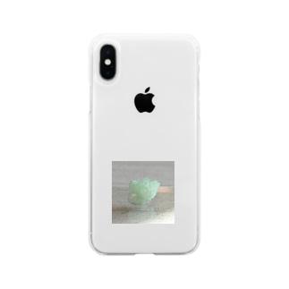 鉱物/グリーンアポフィライト Soft clear smartphone cases