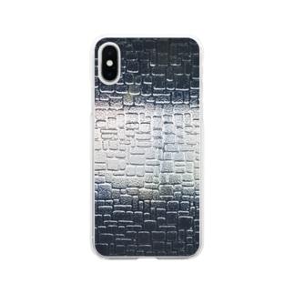 イエネコのスリガラス Soft clear smartphone cases