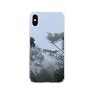 霧の弥山 Soft clear smartphone cases