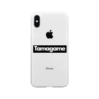 tamagame777のtamagameボックスロゴ黒 Soft clear smartphone cases