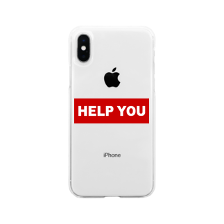 HELP YOU公式ストアのスポーティーロゴ Soft clear smartphone cases