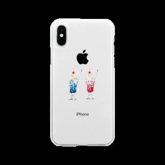 かふぇしょくにんのおそろいクリームソーダ Soft clear smartphone cases