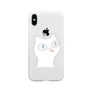 さとこ|おこめましまろうのねこがペロ Soft clear smartphone cases