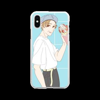 タカナシの白Tとクレープ Soft clear smartphone cases