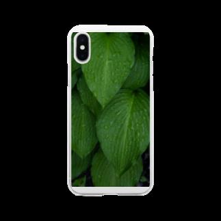 写真プリントの雨上がりの緑 Soft clear smartphone cases