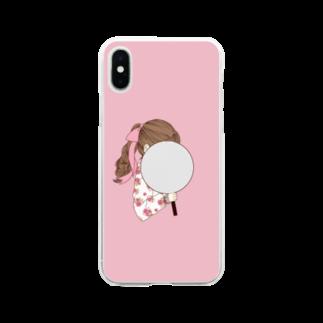 i_to_uのオタカツがーる ぴんく Soft clear smartphone cases