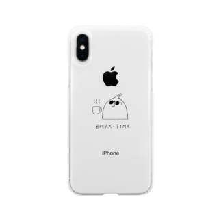 かふぇしょくにんのコーヒーブレイク中インコさん Soft clear smartphone cases