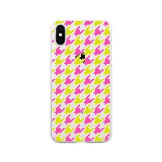 千鳥格子 Soft clear smartphone cases