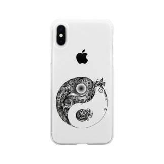 太陰太極図 Soft clear smartphone cases