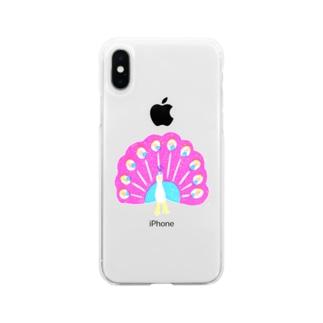 クジャク 桃羽 Soft clear smartphone cases