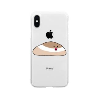 シナモン文鳥 Soft clear smartphone cases