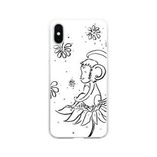 幸せの花とさる Soft clear smartphone cases