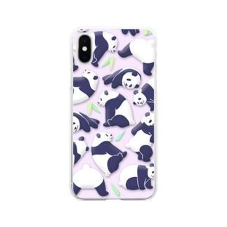 やる気のないパンダ さわやかピンク 笹あり Soft clear smartphone cases