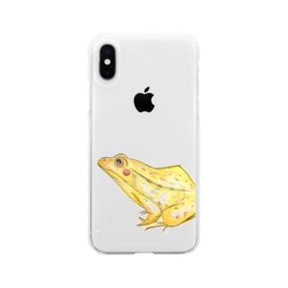 てがきとのさまがえる Soft clear smartphone cases
