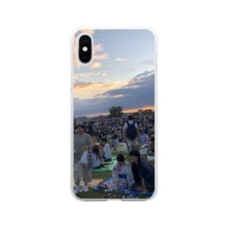 夏の夕暮れ Soft clear smartphone cases