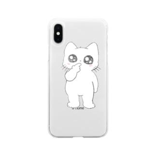 たってるねこちゃん Soft clear smartphone cases