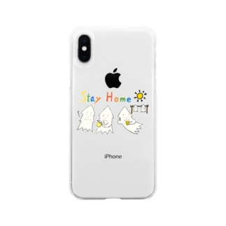 STAY HOME モンゴイカ Soft clear smartphone cases
