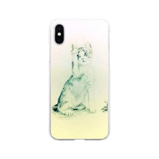 猫の小さな絵 Soft clear smartphone cases