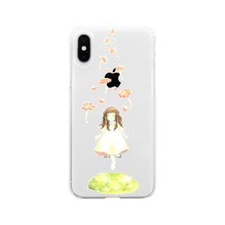 お花とすてきな世界へ Soft clear smartphone cases